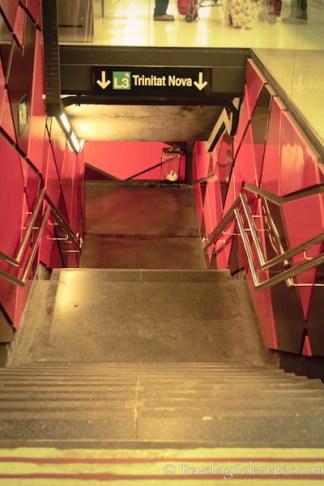 Entrance to metro station, Barcelan, Spain
