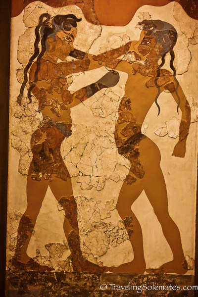 Boxing Children, Minoan Frescoes, National Archeological Museum, Athens, Greece