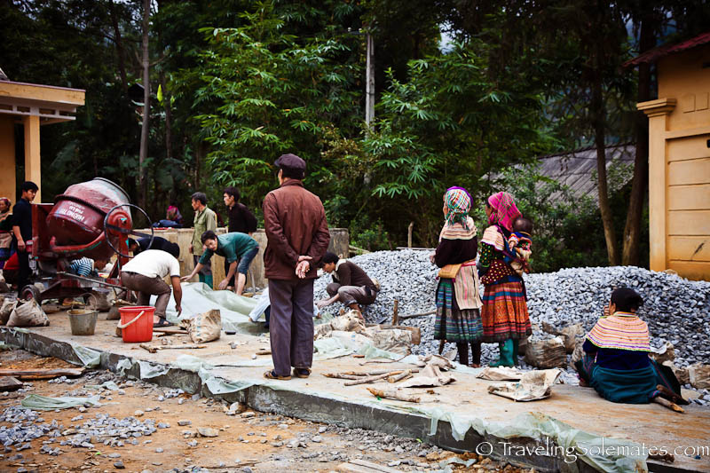 Road Construction in Flower Hmong Village - Trekking in the Hillribe Villages around Bac Ha, Vietnam