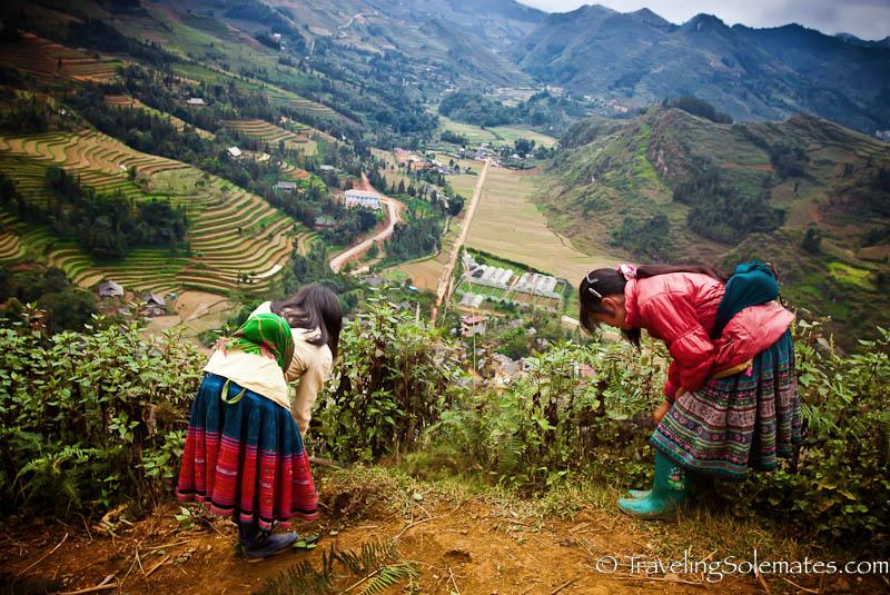 Flower Hmong Girls in Thai Giang Pho - Trekking in the Hillribe Villages around Bac Ha, Vietnam
