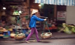 Vendor carrying his Yoke, Old Quarter, Hanoi, Vietnam