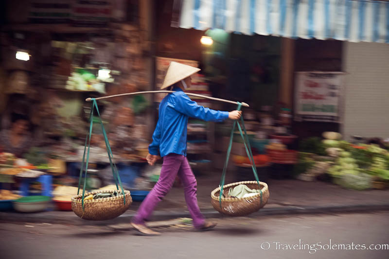 Vendor carrying his Yoke, Old Quarter, Hanoi, Vietnam