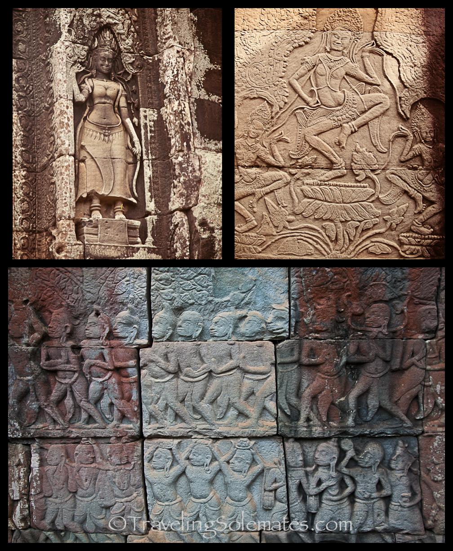 Bas Relief in Bayon Temple, Angkor Thom, Cambodia