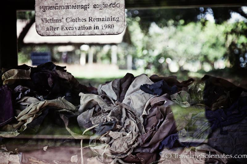 Victims' clothes, Choeung ek Killing Field, Phnom Pehn, Cambodia