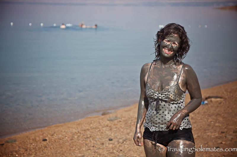 Mud mask in the Dead Sea, Jordan