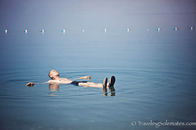 Floating on Dead Sea, Jordan