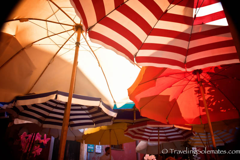Umbrellas in Piazza Marconi,  Vernazza,  Hiking in Cinque Terre, Italy