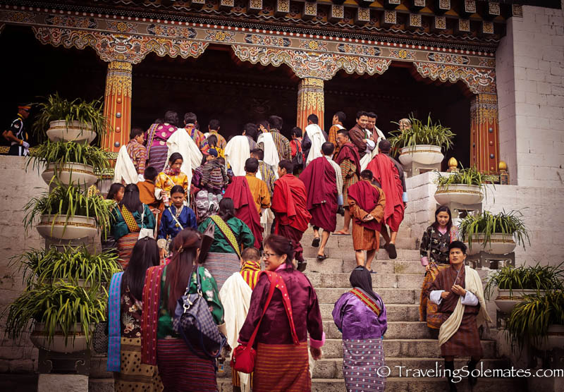 People arriving at Festival (Tsechu) in Tashichho Dzong, Thimphu, Bhutan.