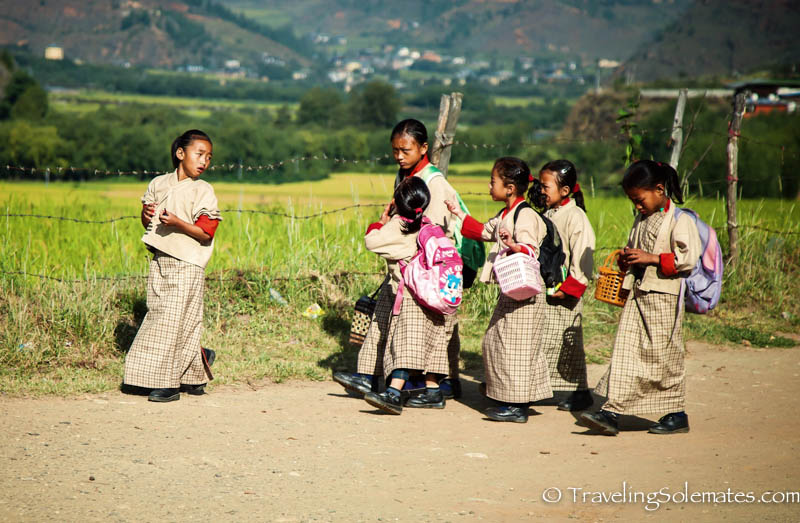 School children along the road between Paro and Thimphu, Bhutan