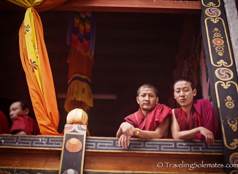 Monks watching Festival (Tsechu),  Thimphu Festival, Bhutan