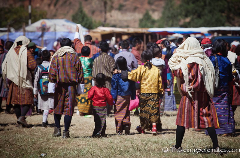 People arriving in Tsechue Festival in Wangdue, Bhutan