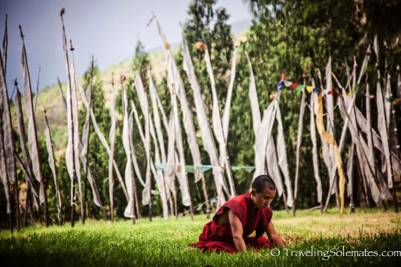 Vertical Prayers flags  at a temple ground in Punakha, Bhutan