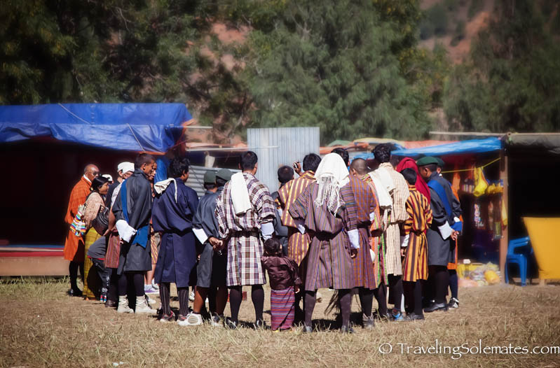 Men playing dart during Tsechue Festival in Wangdue, Bhutan