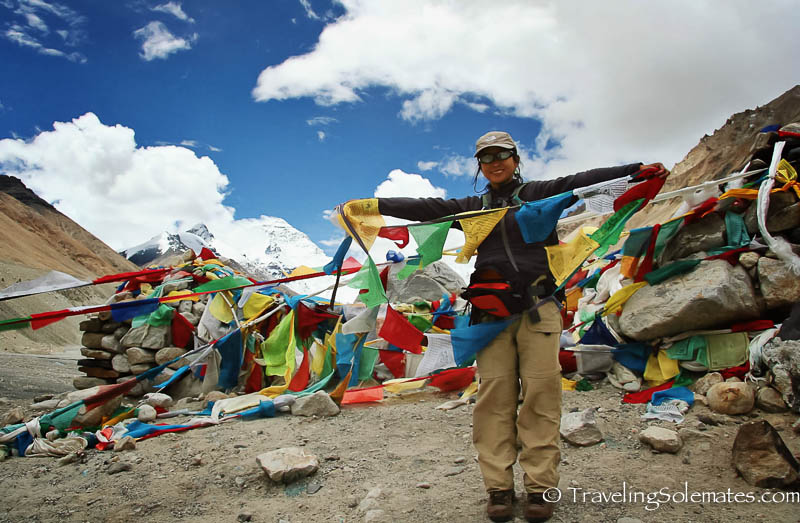 Hanging prayer Flags on the Base Camp of Mt. Everest (North Face), Tibet