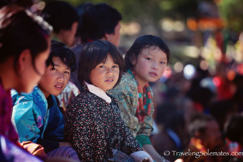 Girls in the audience at the Tsechue Festival in Wangdue, Bhutan
