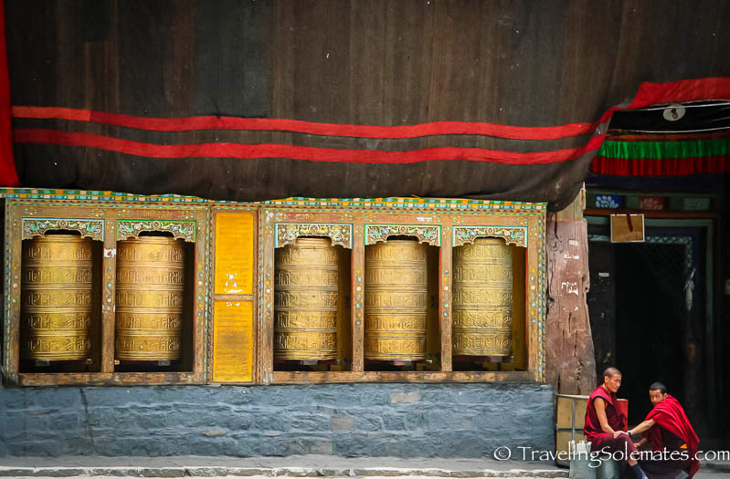 Giant brass prayer wheels at a monastery in Sakya, Tibet