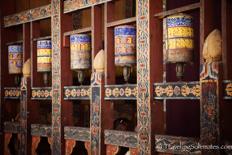 Wooden prayers wheels in Trongsa, Bhutan