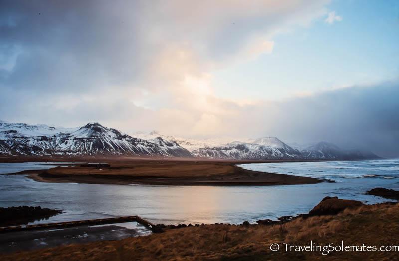 Snaefellsjokull Glacier and Budir-estuary, Snaefellsnes Peninsula, Iceland