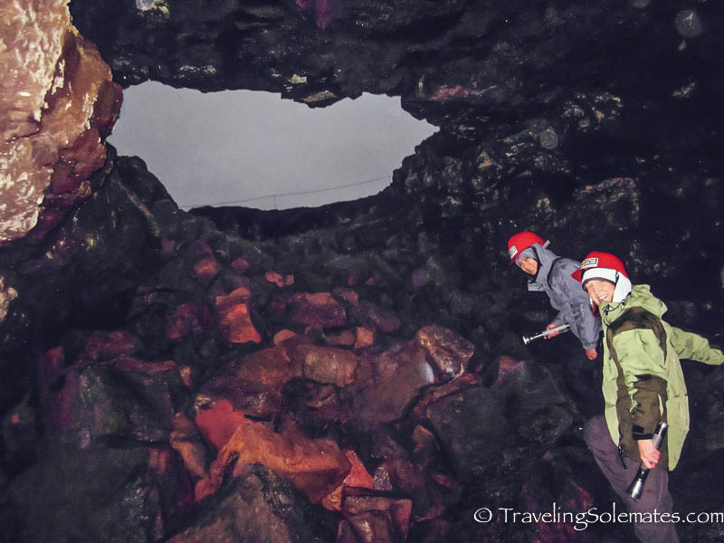 Lava Tube Caving in Leidarendi, Iceland