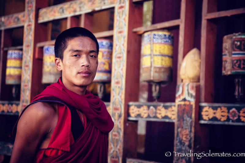 A Monk in Trongsa Dzong (Fortress), Bhutan.