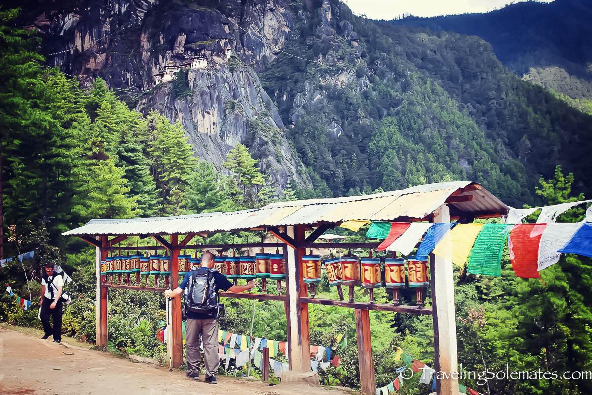 Prayer Wheels on the Hiking Trail to Tiger's Nest Monastery, Paro, Bhutan