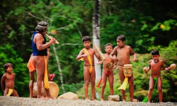 Embera Children playing instruments, Embera Village, Charges National Park, Panama