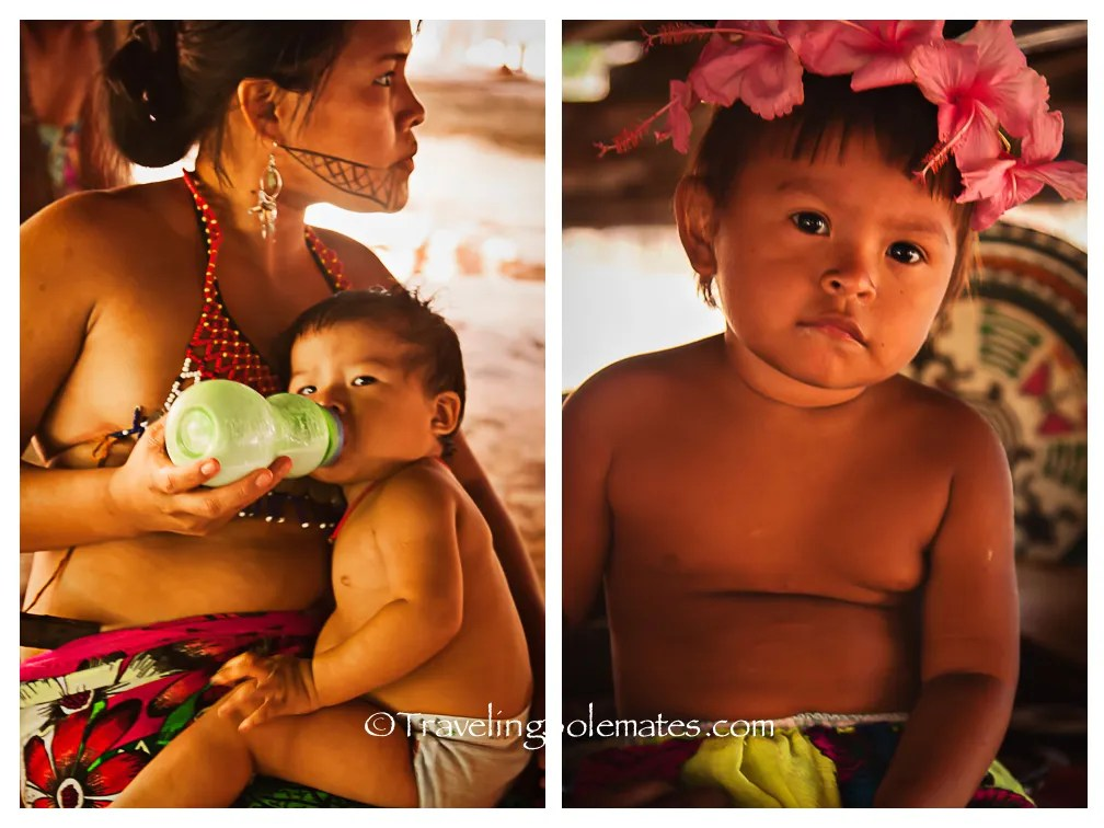 Embera Mother and Baby and a little girl, Embera Drua Village, Upper Charges, Panama