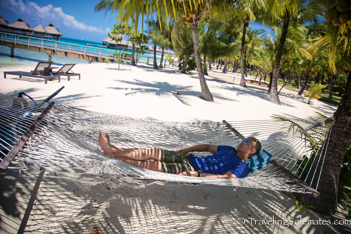 Hammock in Bora Bora Nui, Bora Bora, French Polynesia,  South Pacific