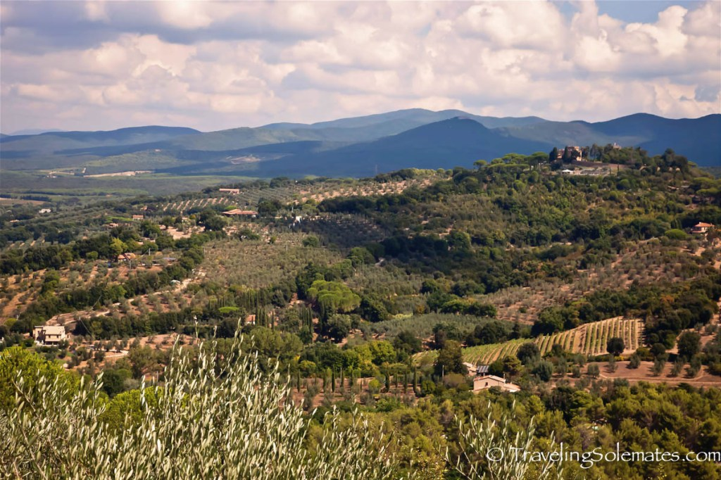 View from hilltop of Castagneto Carducci, Tuscany, Italy