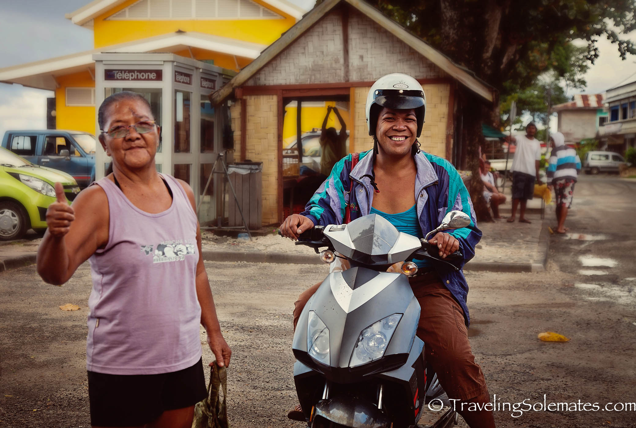 Locals in Town of Fare, Huahine, French Polynesia, South Pacific