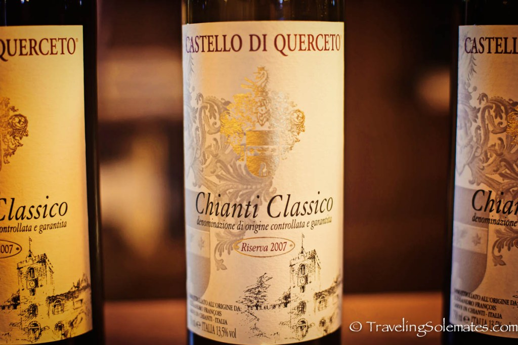 Bottle of wine produced in Castello di Querceto Winery, Greve in Chianti, Tuscany, Italy
