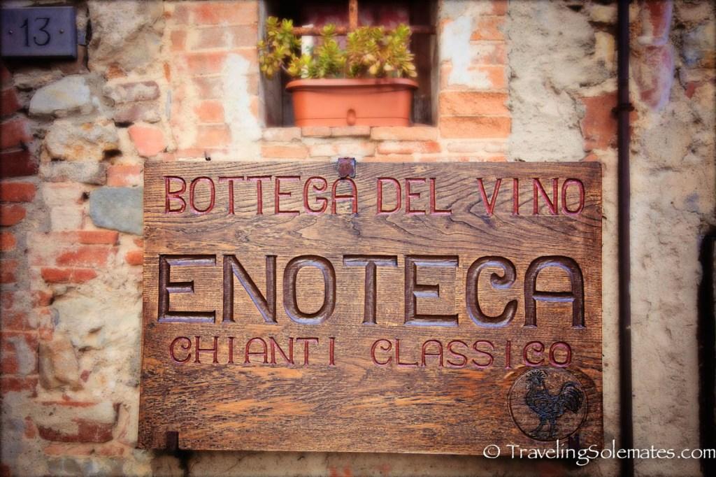 Enotreca sign in Castellina in Chianti, Tuscany, Italy