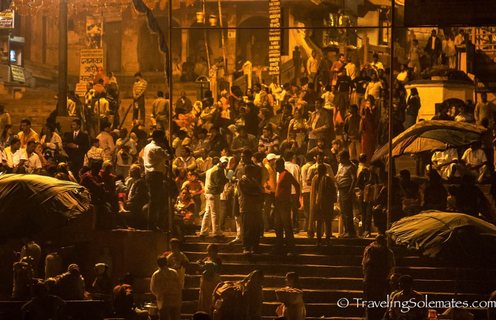 People gathered on the Bank of Ganges River, Varanasi, India