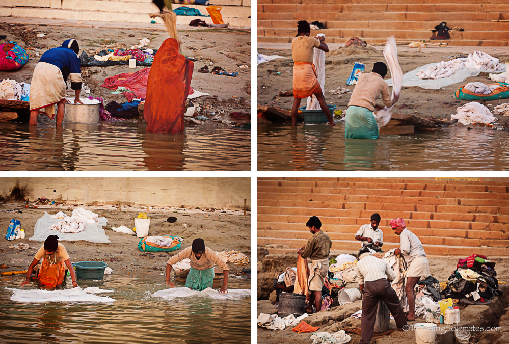People washing clothes in Ganges River, Varanasi, India