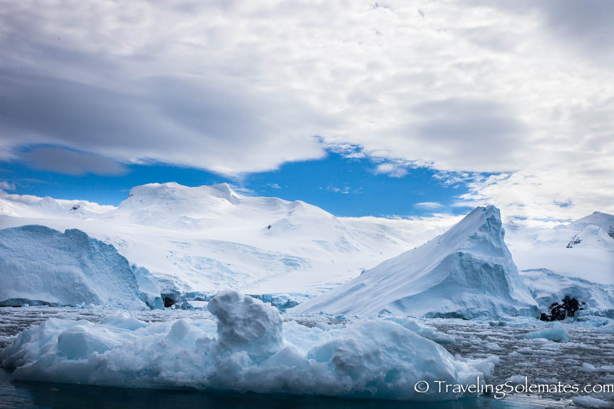 Icebergs and Ice covered mountains in Cierva Cove, Antartica, National Geographic Explorer, Lindblad Expedition