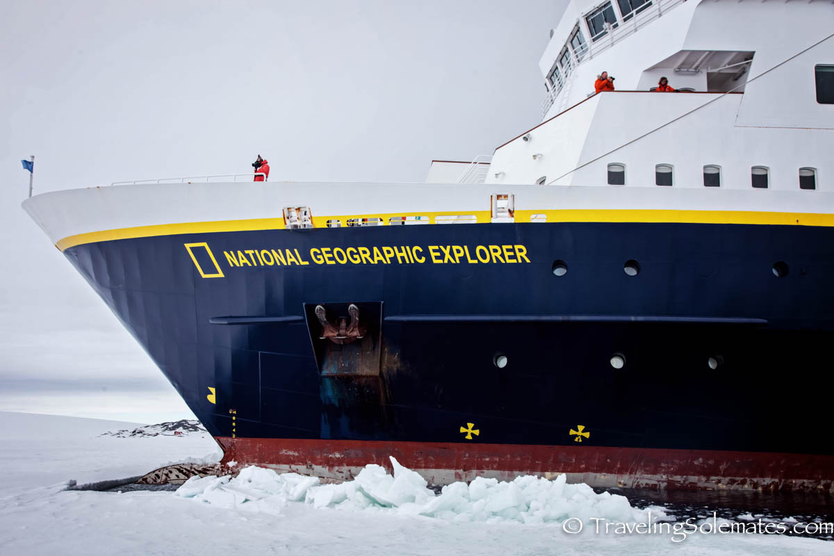 National Geographic Explorer docked right on the edge of a sea ice, Active Sound, Antarctica, Lindblad Expeditions
