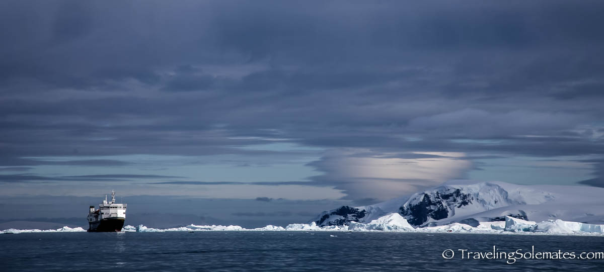 National Geographic Explorer in Cierva Cove, Antarctica, Lindblad Expeditions