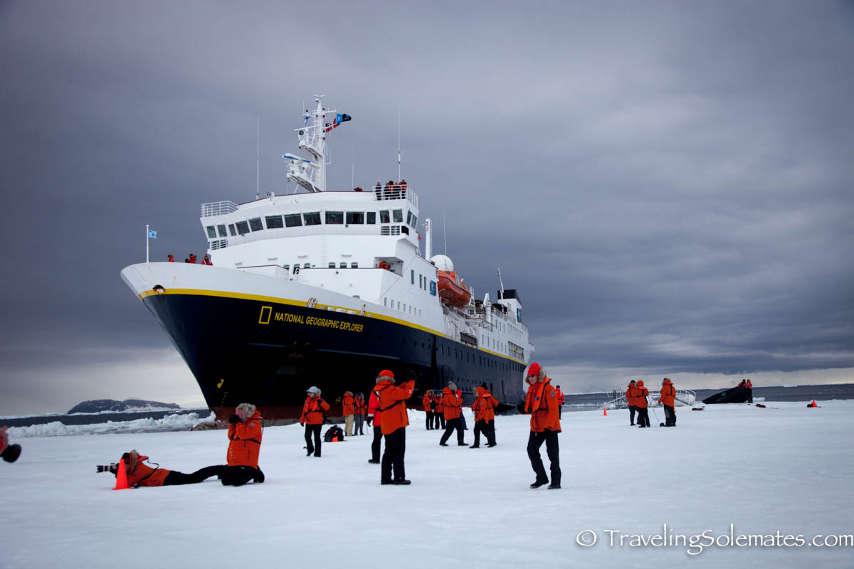 National Geographic Explorer travelers walking on Sea Ice in Active Sound, Antarctica, Lindblad Expedition
