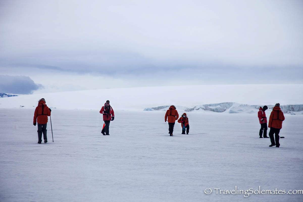 People walking on Sea Ice in Active Sound, Antarctica, National Geographic Explorer, Lindblad Expedition