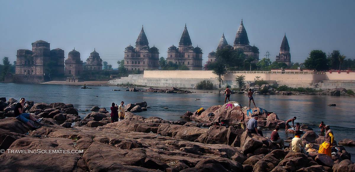 Betwa River and Ram Raja Temple, Orchha, India
