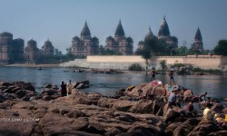 Betwa River and Ram Raja Temple, Orchha, India