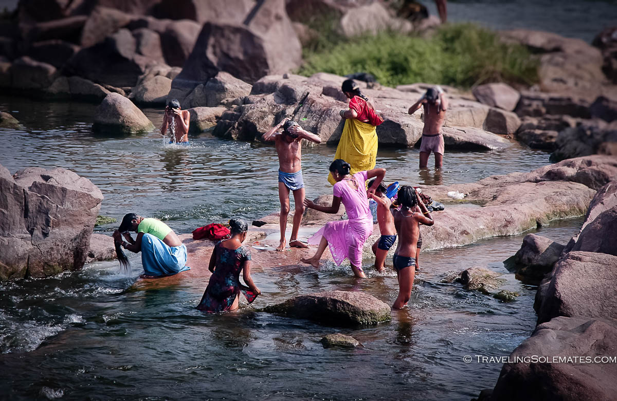 People bathing in Betwa River, Orchha, India