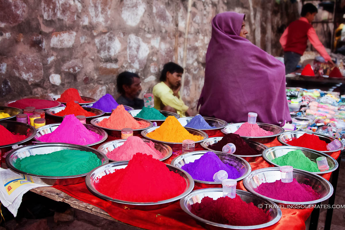 Colorful dyes for saile in Bazaar in Orchha, India