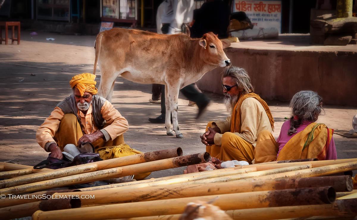 Sadhus in town square of Orchha, India