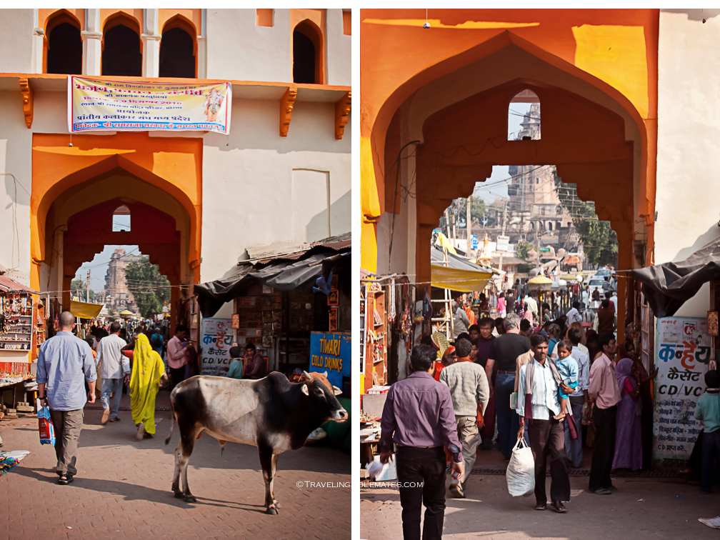 Gate to town's market, Orchha, India