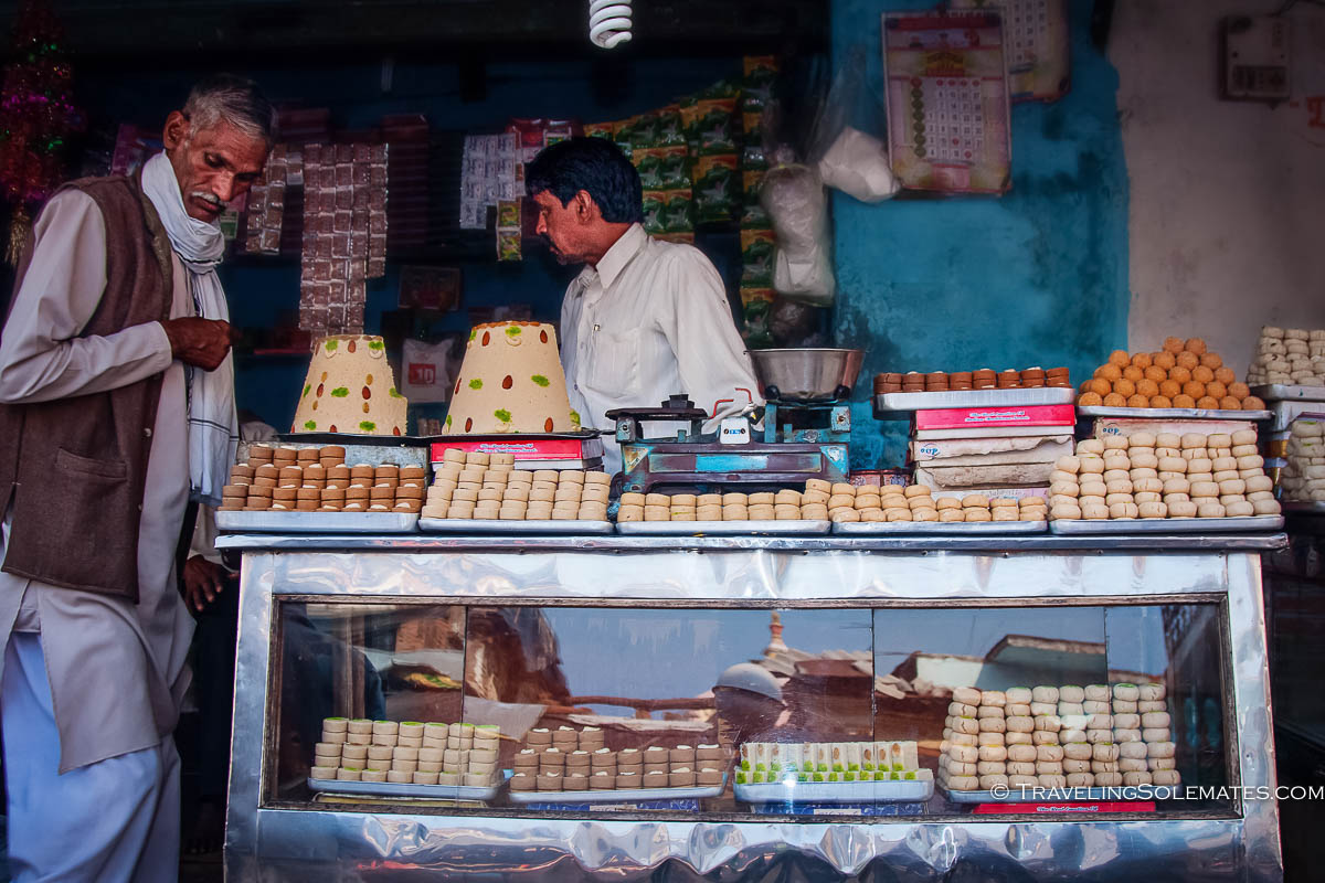 Sweet shop at the market, Orchha, India