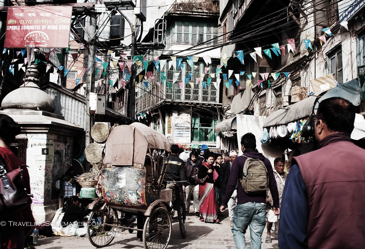 Traffic in Narrow street in old town of Kathmandu, Nepal