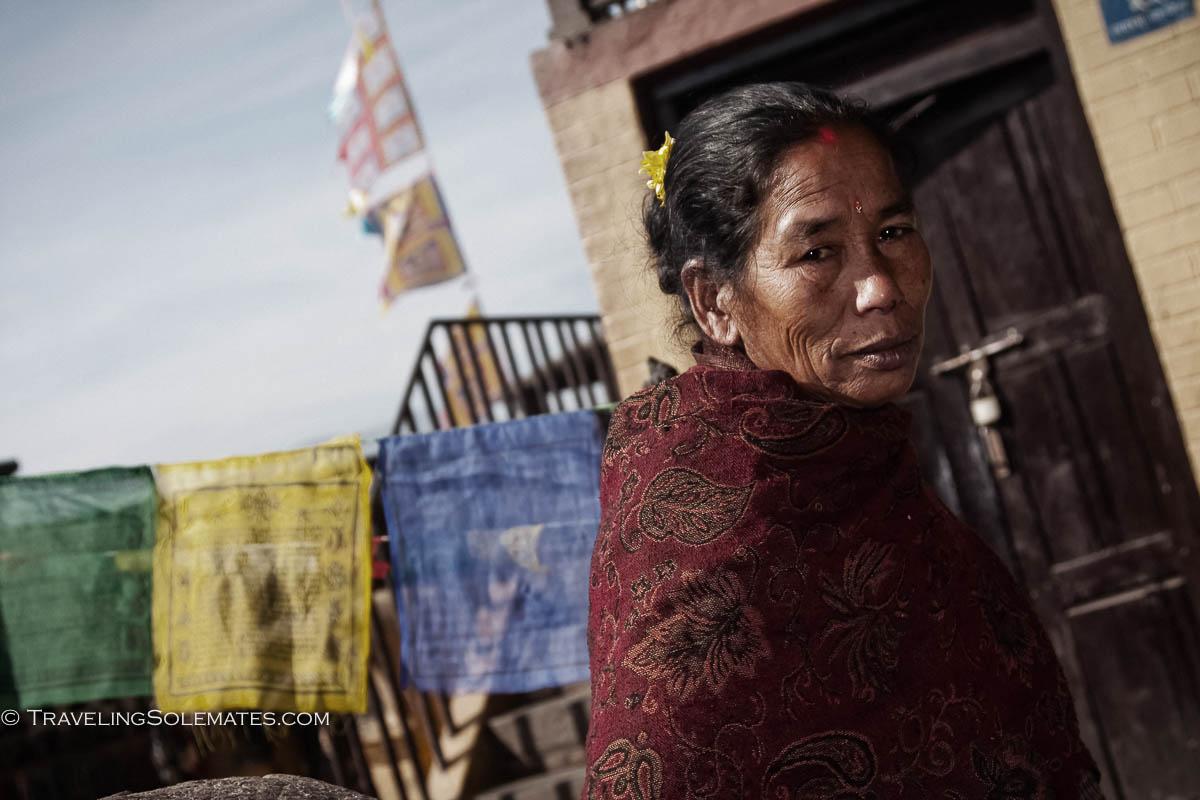 Woman in Swayambunath, Monkey Temple, Kathmandu, Nepal