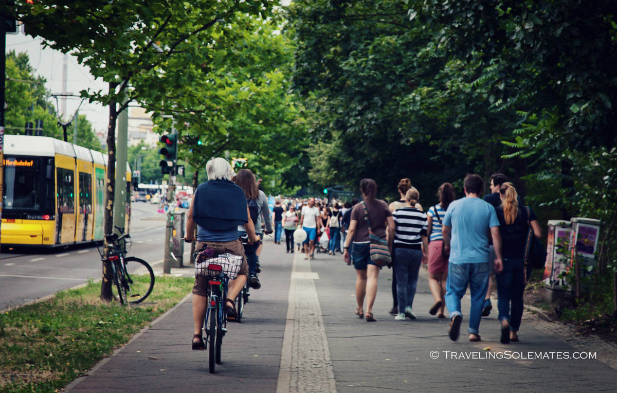 People walking to Mauerpark, Berlin, Germnany