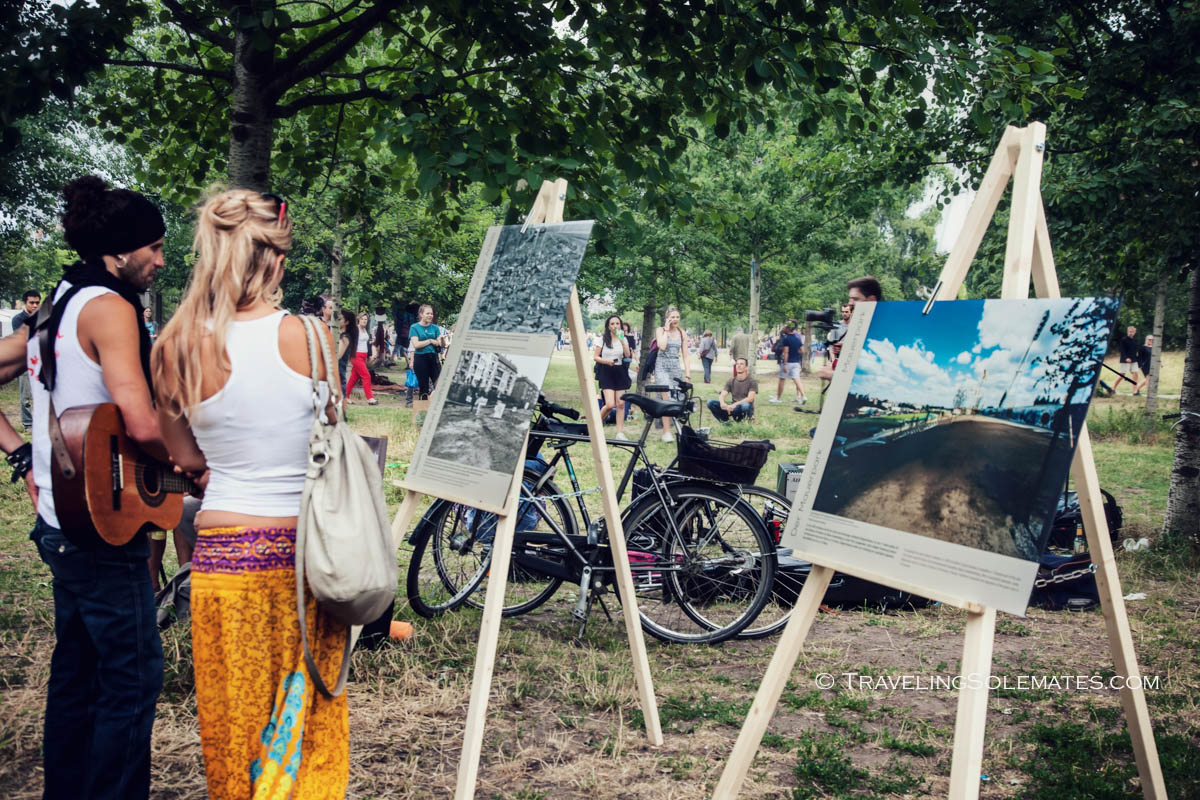 People viewving outdoor art museum Mauerpark, Berlin, Germnany